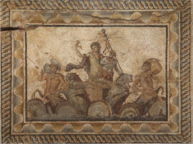 Το ψηφιδωτό του Διονύσου (τέλη 2ου και αρχές 3ου αι. μ.Χ.), Αρχαιολογικό Μουσείο Δίου, © Υπουργείο Πολιτισμού και Αθλητισμού, Εφορεία Αρχαιοτήτων Πιερίας και Ανασκαφών Δίου