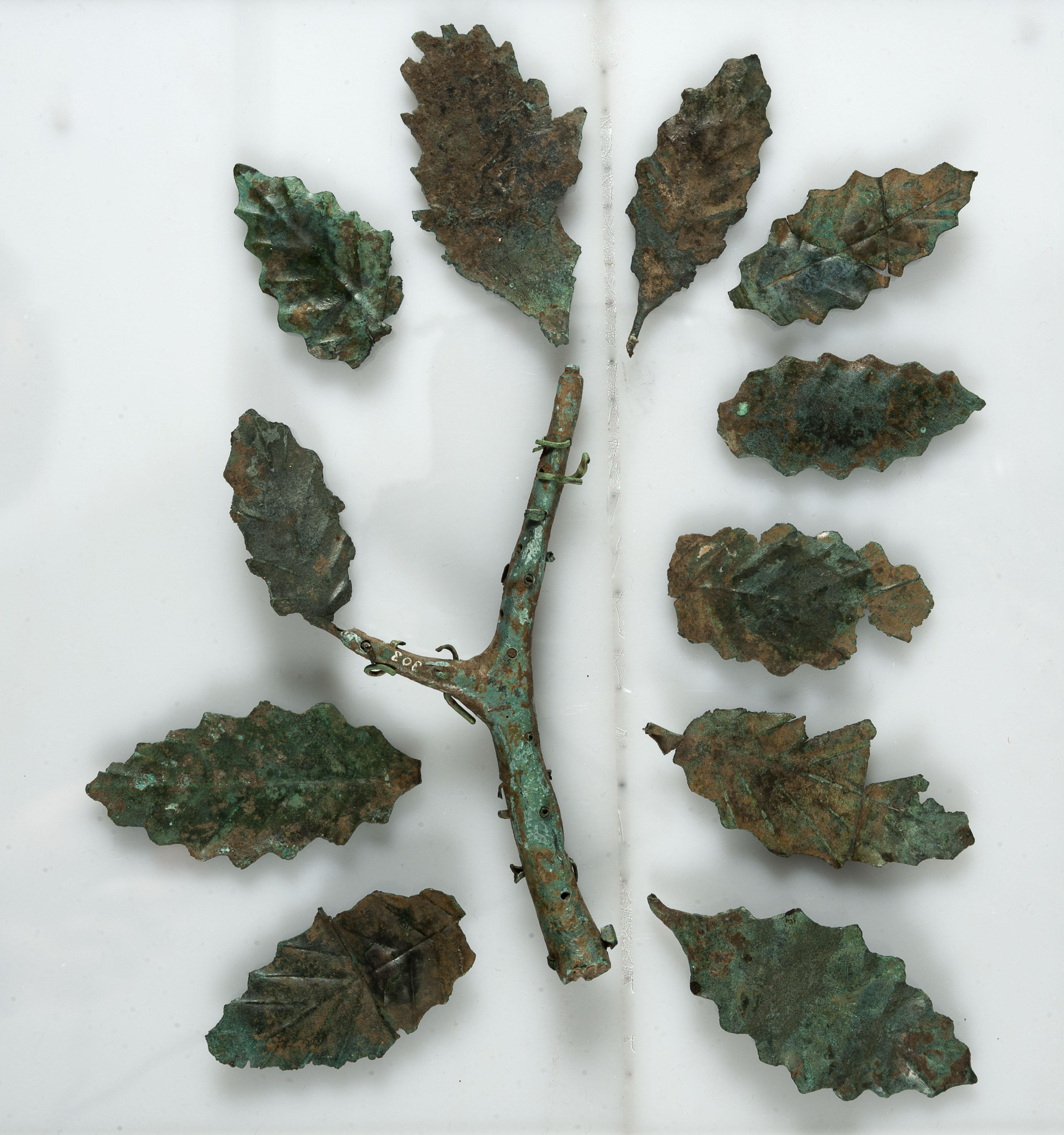 Κλαδί και φύλλα δρυός. Η μαντική δρυς ήταν η κατοικία του Δία στην Δωδώνη. 4ος - 3ος αι π.Χ.
