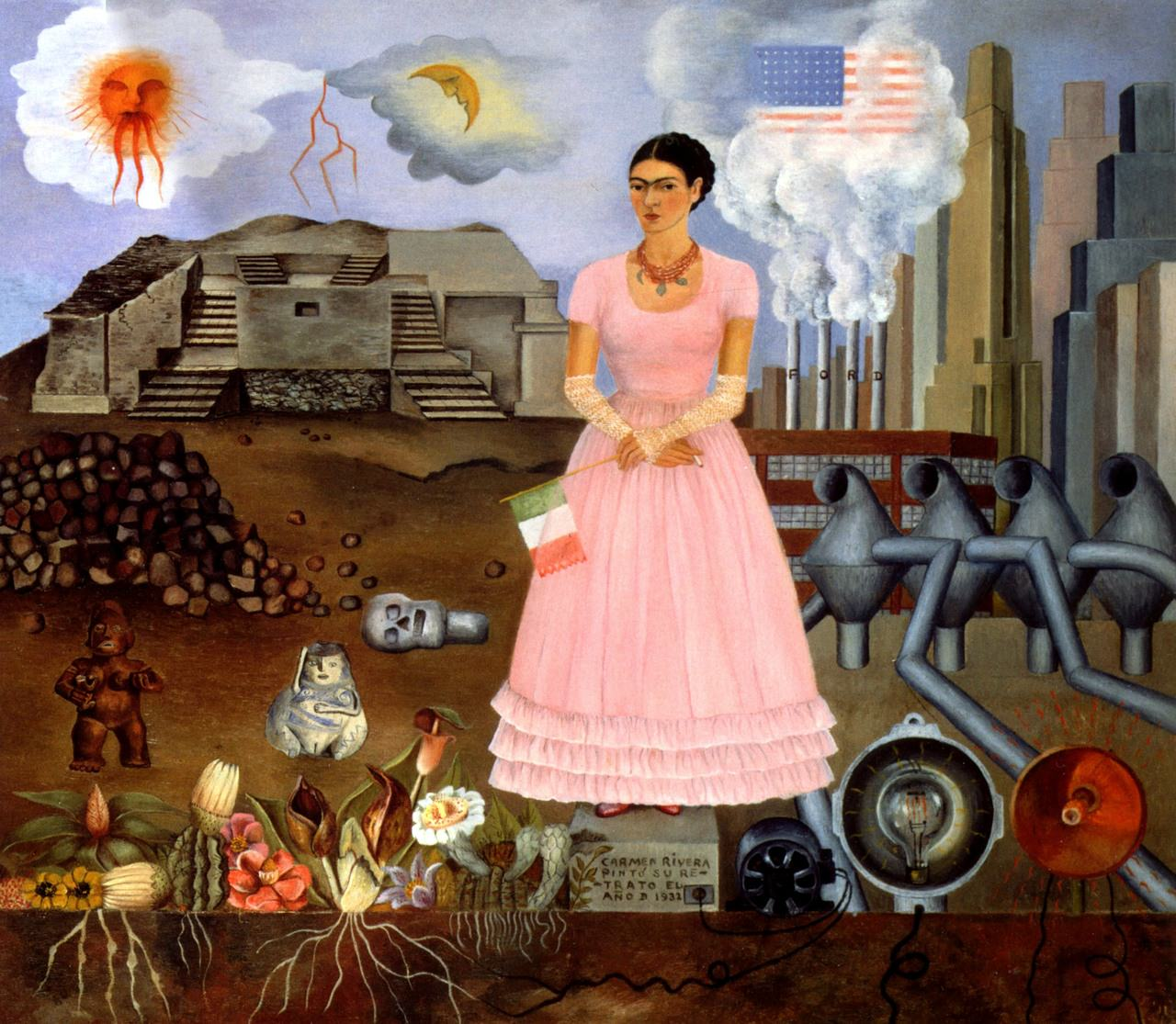 Frida Kahlo's Self-Portrait on the Borderline Between Mexico and the United States (1932)