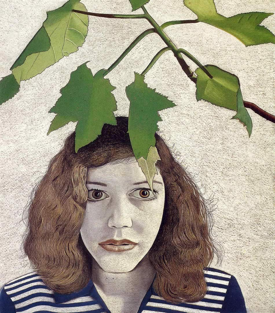 France Girl With Leaves, Lucian Freud, 1948