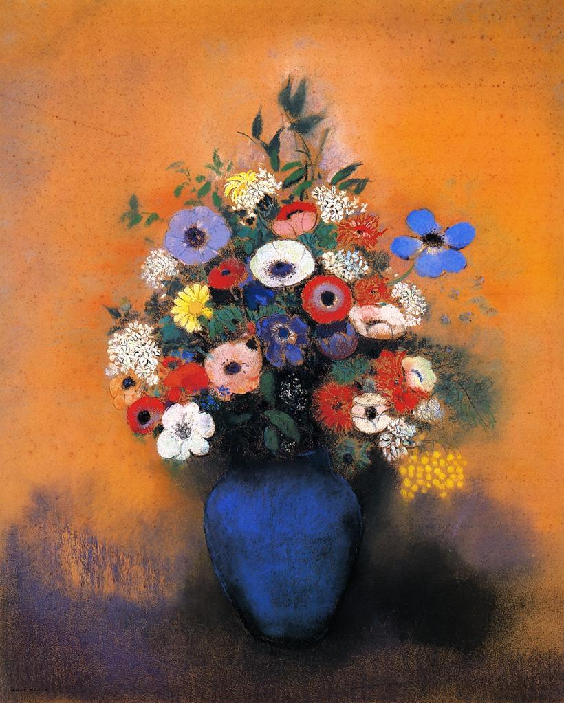 Minosas, Anemonies And Leaves In A Blue Vase, Odilon Redon, 1915