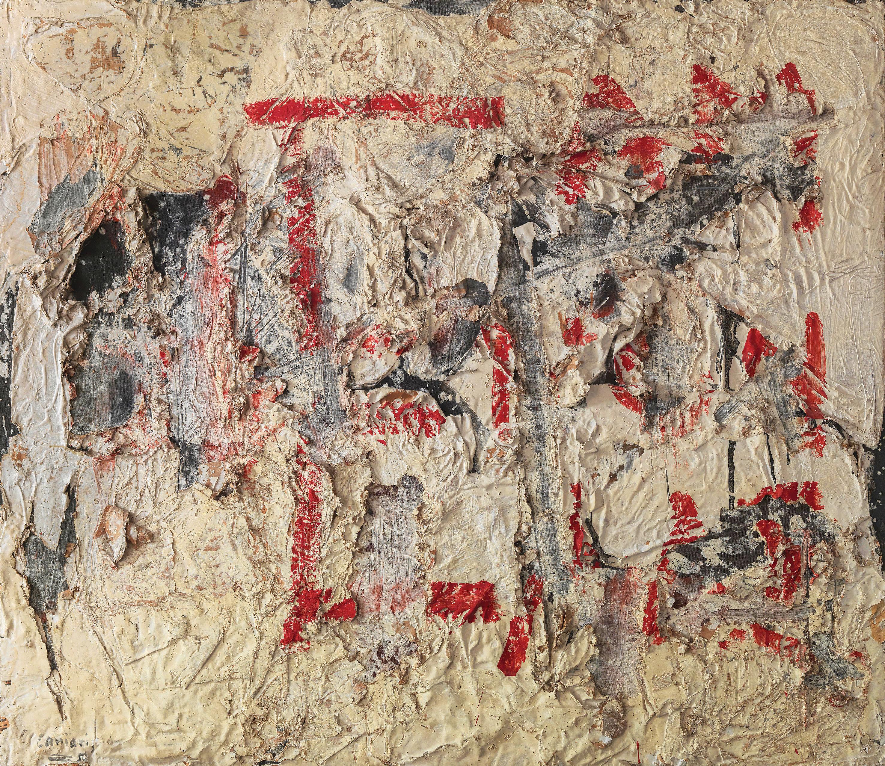 Βλάσης Κανιάρης (1928-2011) Τιμής ένεκεν στους τοίχους της Αθήνας 1941-19…, 1959 Μικτή τεχνική σε καμβά, 130 x 150 εκ. Δωρεά της Μαρίας Λίνας Κανιάρη, 2014 Εθνικό Μουσείο Σύγχρονης Τέχνης, Αρ. Εισ. 992/14