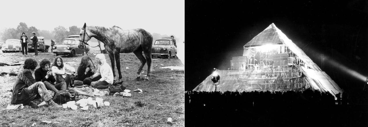 Left: Hippies and their horse at the first Glastonbury Festival, 1970. © Brian Walker. Right: The first Pyramid stage at Glastonbury Festival, 1971. © Brian Walker