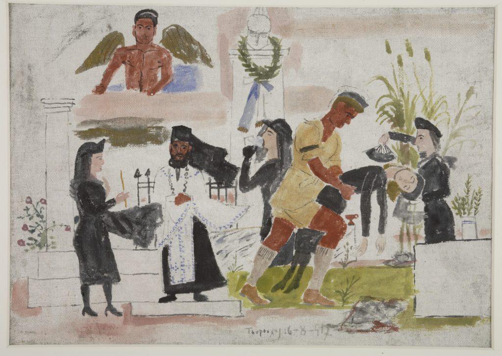 Το μνημόσυνο, μακέτα τοιχογραφίας για το ύπαιθρο, 1947