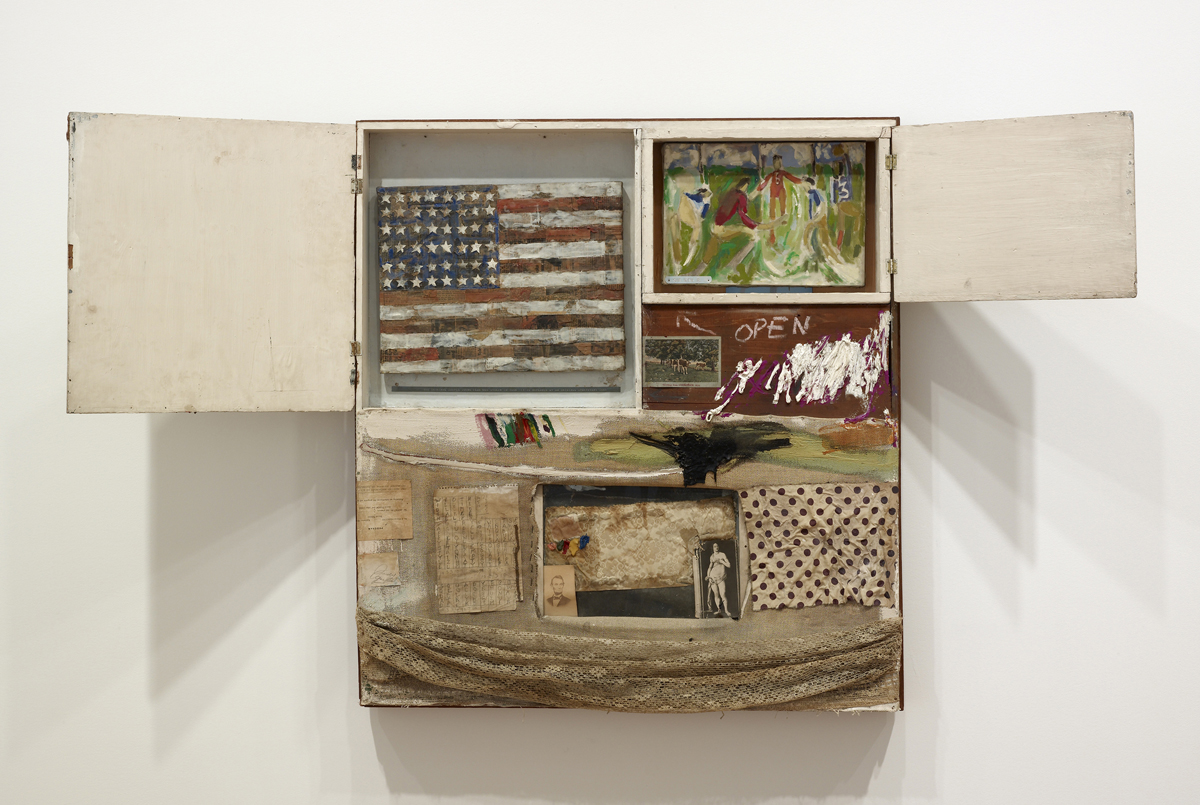 Short Circuit, 1955; cabinet featuring a painting by Susan Weil and 'an Original Sturtevant' captioned by Rauschenberg and created by Elaine Sturtevant in 1967 to replace a Jasper Johns flag painting that had originally been included but was stolen in 1965; The Art Institute of Chicago; © Robert Rauschenberg Foundation, New York