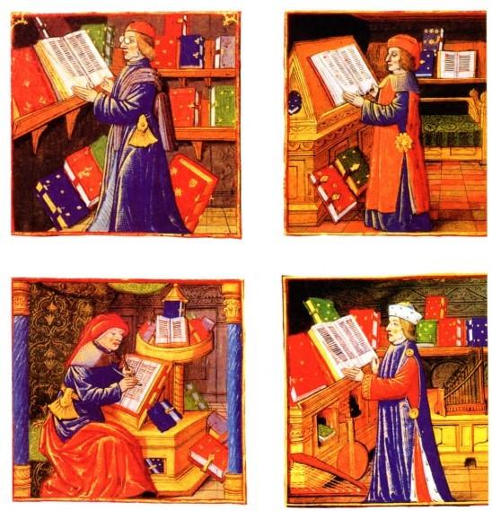 Όψεις της Βασιλικής Βιβλιοθήκης γύρω στο 1488-1489, από το μικρογραφημένο χειρόγραφο προς τιμήν του Βασιλιά Καρόλου Η' «La Mer des Histoire», από τον Pierre le Rouge