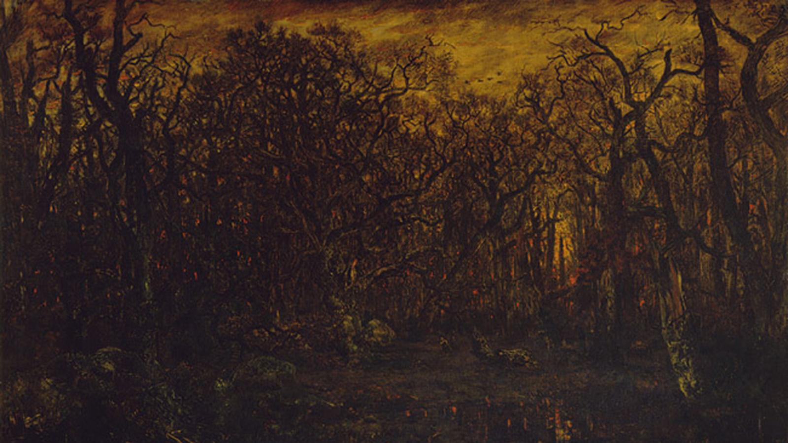 The Forest in Winter at Sunset, Théodore Rousseau (1846–47)