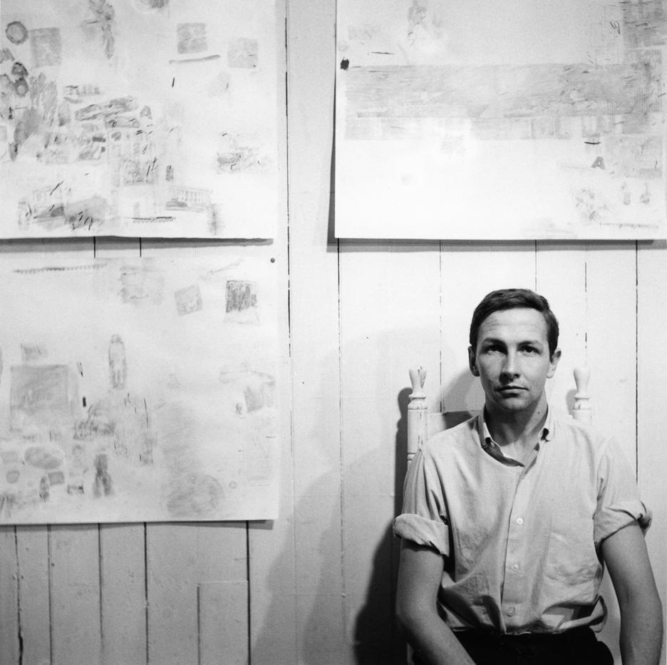 Robert Rauschenberg in his Front Street studio, New York, 1958