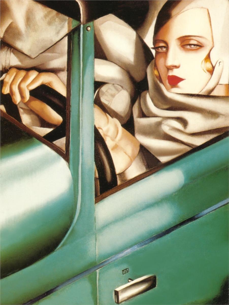 Αυτοπροσωπογραφία της Λεμπίτσκα,Tamara In The Green Bugatti, 1925