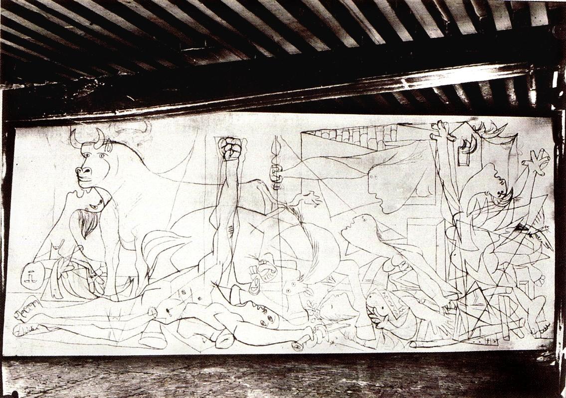 H Γκουέρνικα σε πρώτο στάδιο φωτογραφημένη από τη Ντόρα Μάαρ