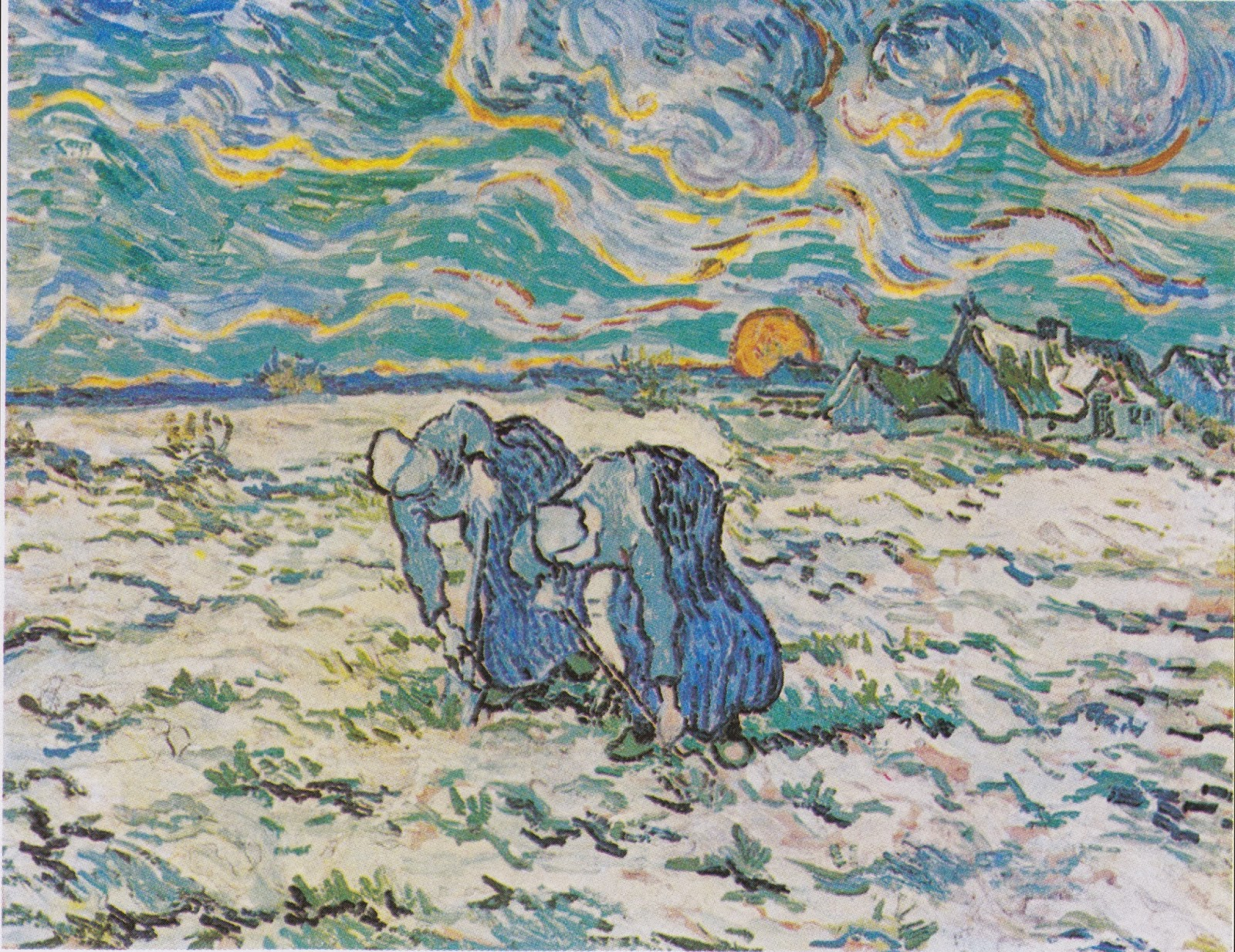 Two Peasant Women Digging in a Snow-Covered Field at Sunset, Vincent Van Gogh, 1890