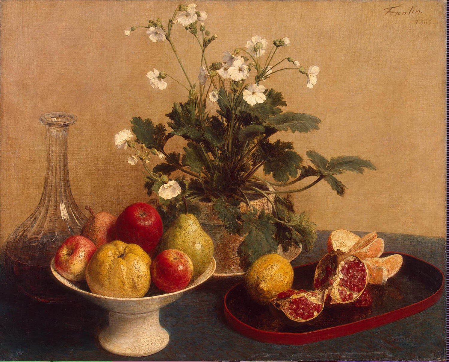 Still Life Flowers Dish with Fruit and Carafe, Henri-Fontaine Latour