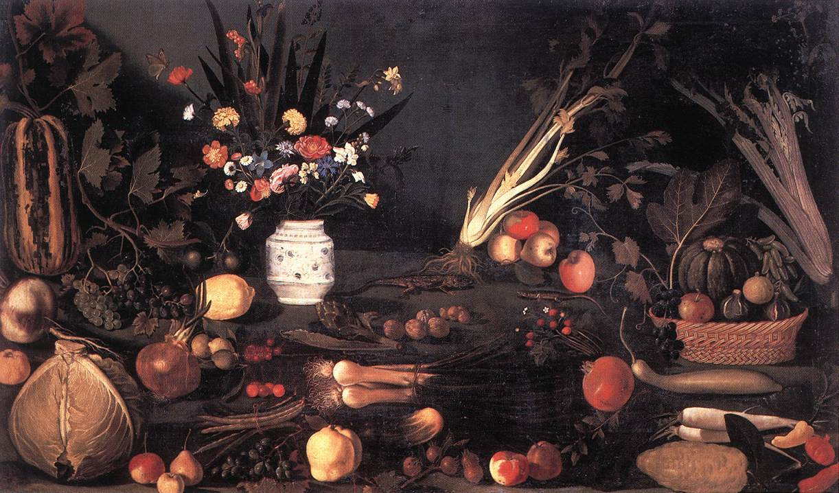 Still Life With Flowers And Fruit, Caravaggio, 1601