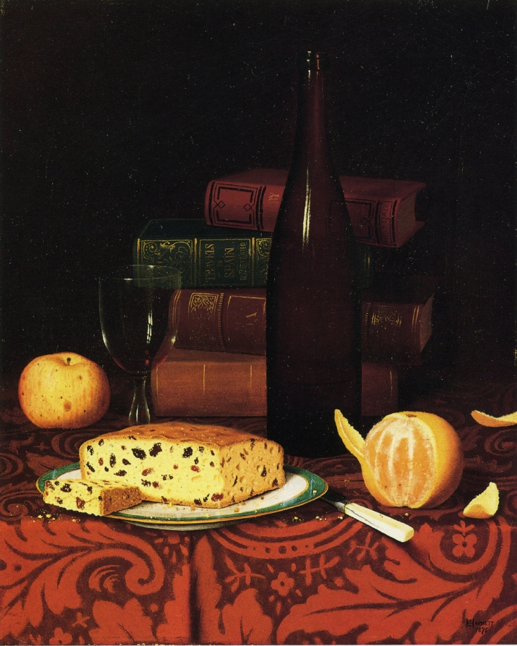 Still Life With Raisin Cake, Fruit And Wine, William Michael Harnett, 1876