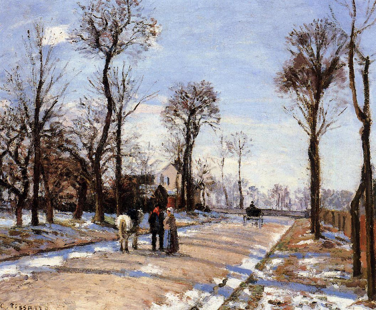 Street Winter Sunlight And Snow, Camille Pissarro, 1872