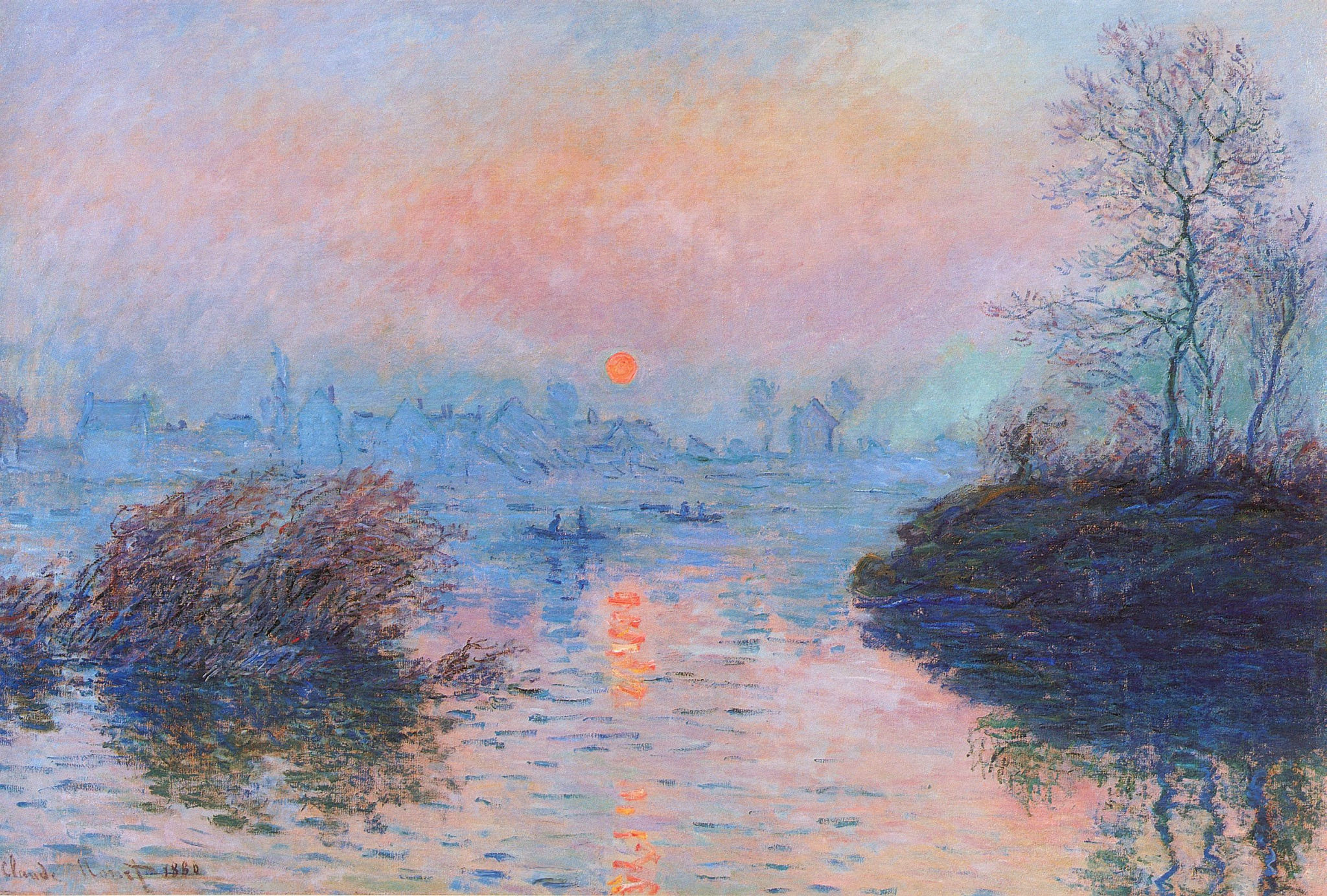 Sunset On The Seine At Lavacourt, Winter Effect, Claude Monet, 1880