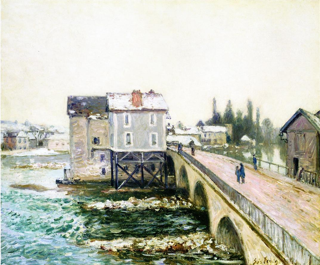 The Bridge And Mills Of Moret, Winter S Effect, Alfred Sisley, 1890