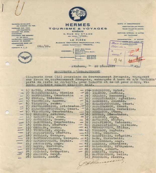 Η πρώτη σελίδα της λίστας των επιβατών του Ματαρόα