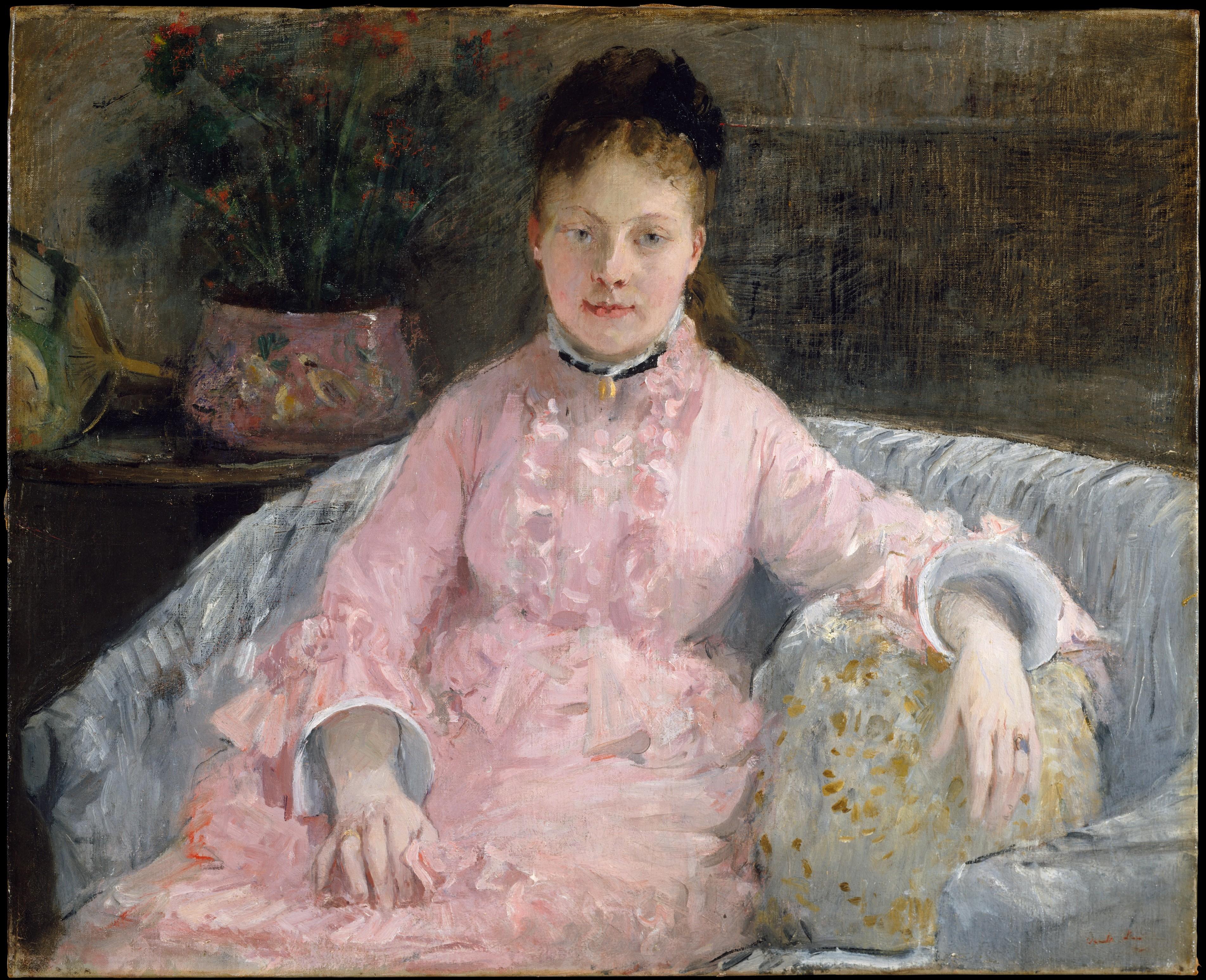 The Pink Dress (Albertie-Marguerite Carré, later Madame Ferdinand-Henri Himmes, 1854–1935) Berthe Morisot (French, Bourges 1841–1895 Paris)