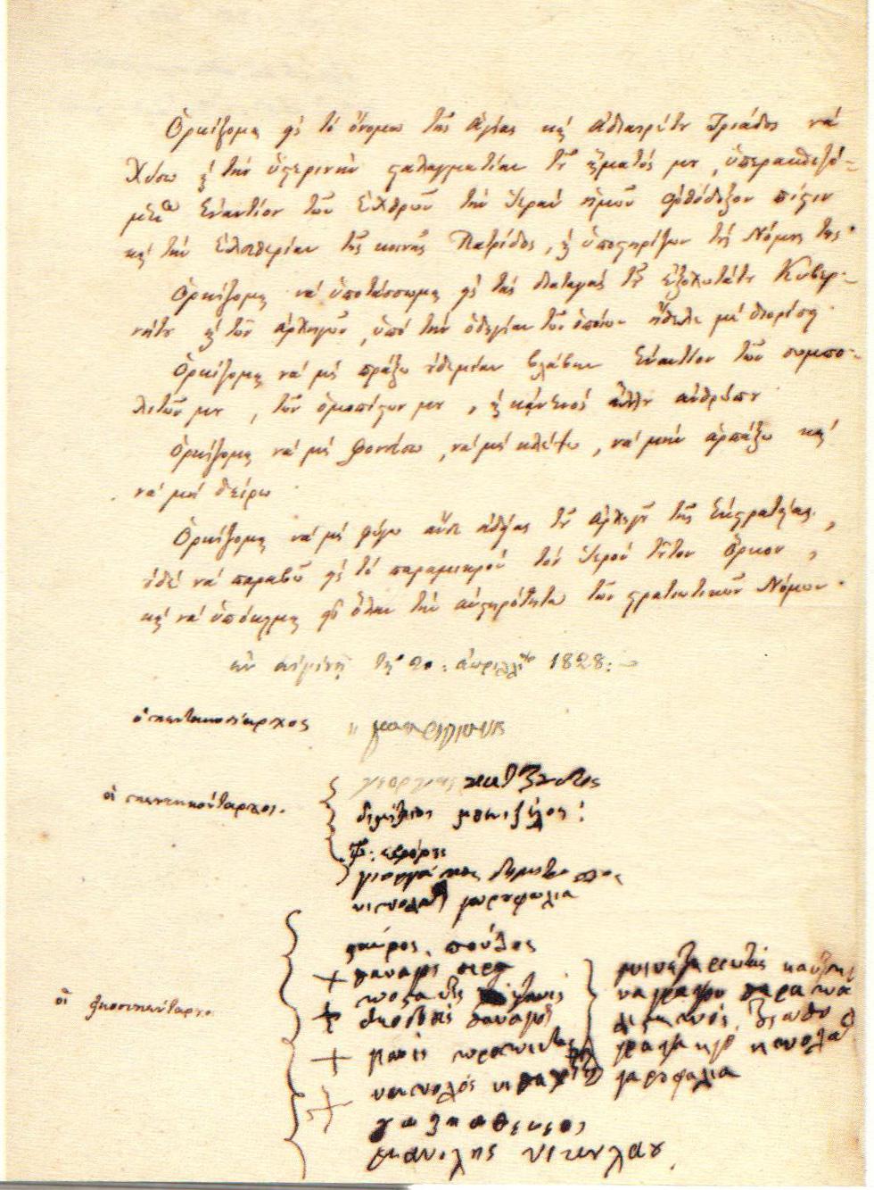 Ο όρκος του Μακρυγιάννη και των υπό τις διαταγές του αξιωματικών, Αίγινα, 20 Απριλίου 1828