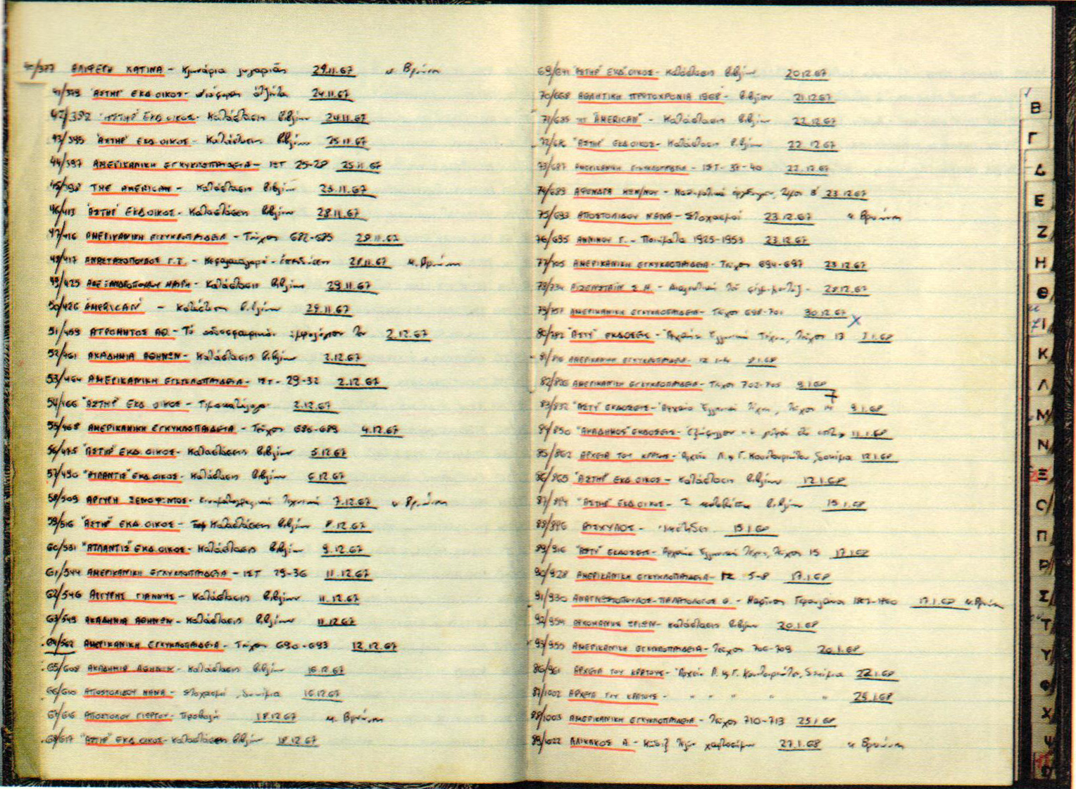 Ευρετήριο καταγραφής λογοκριθέντων βιβλίων, 1970