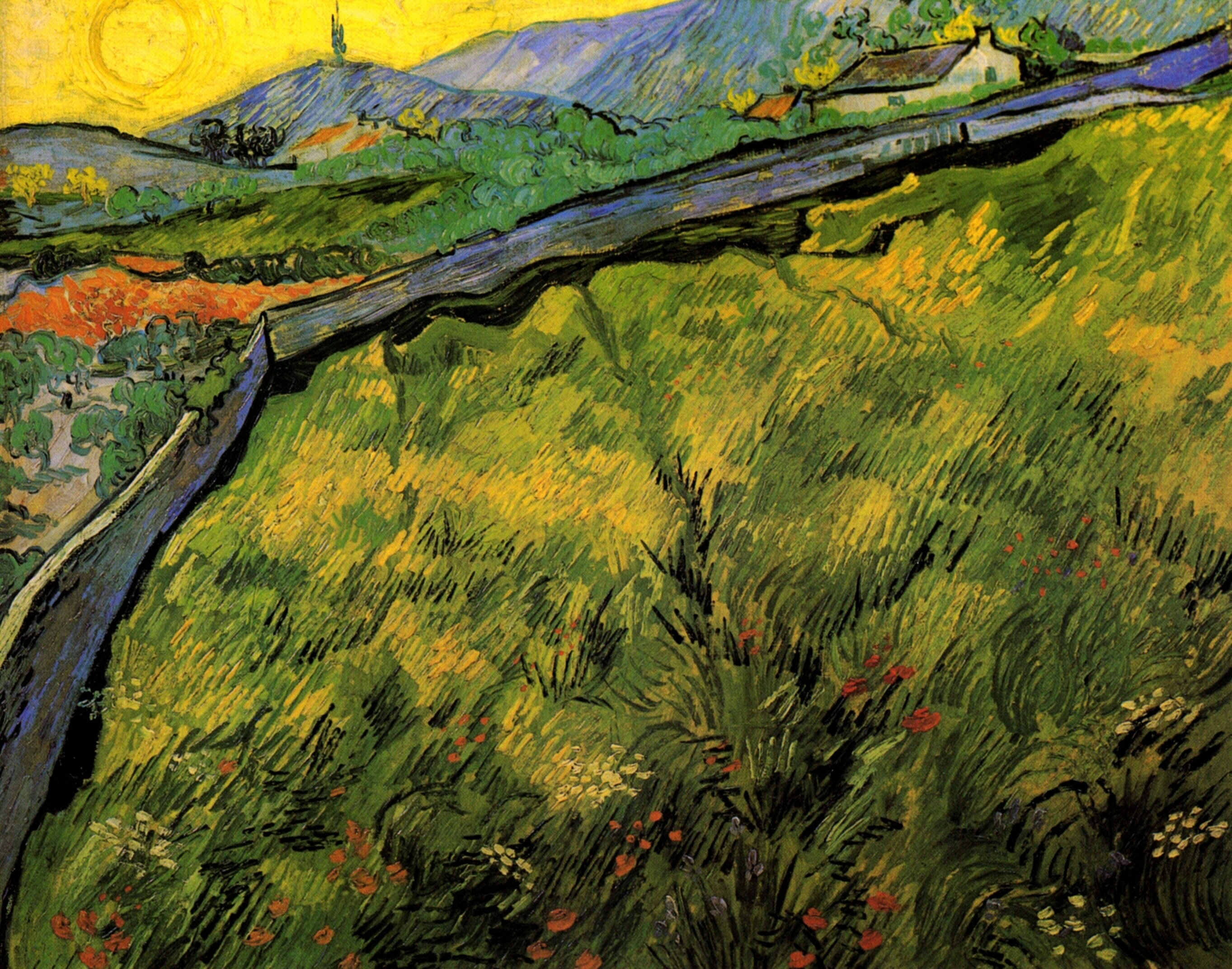 Field Of Spring Wheat At Sunrise, Vincent van Gogh, 1889