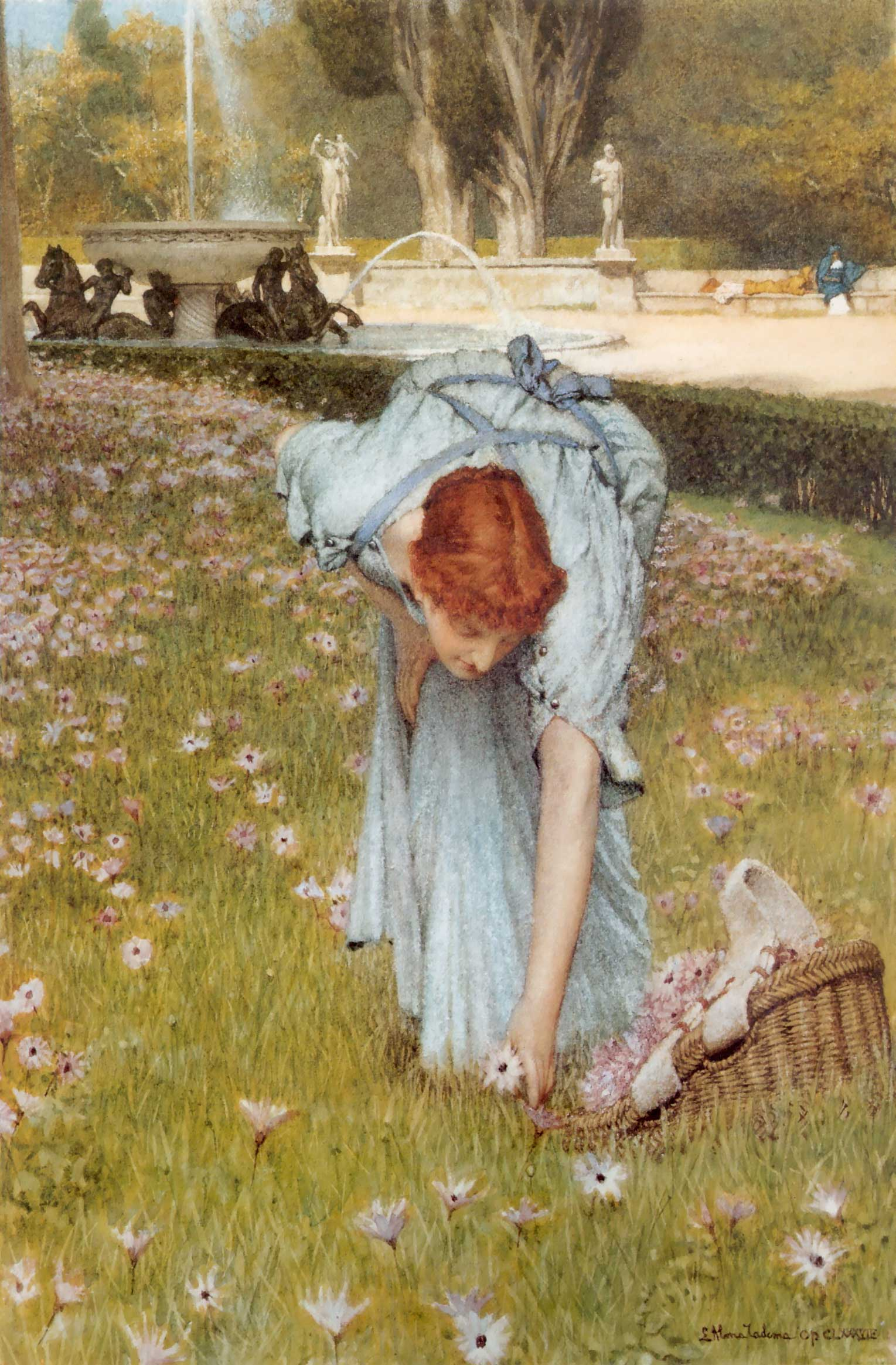Flora Spring In The Gardens Of The Villa Borghese, Sir Lawrence Alma-Tadema, 1877