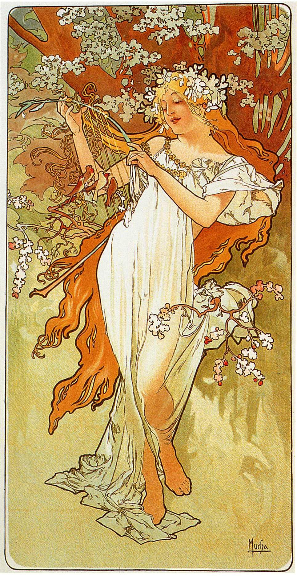 Spring, Alphonse Mucha, 1856