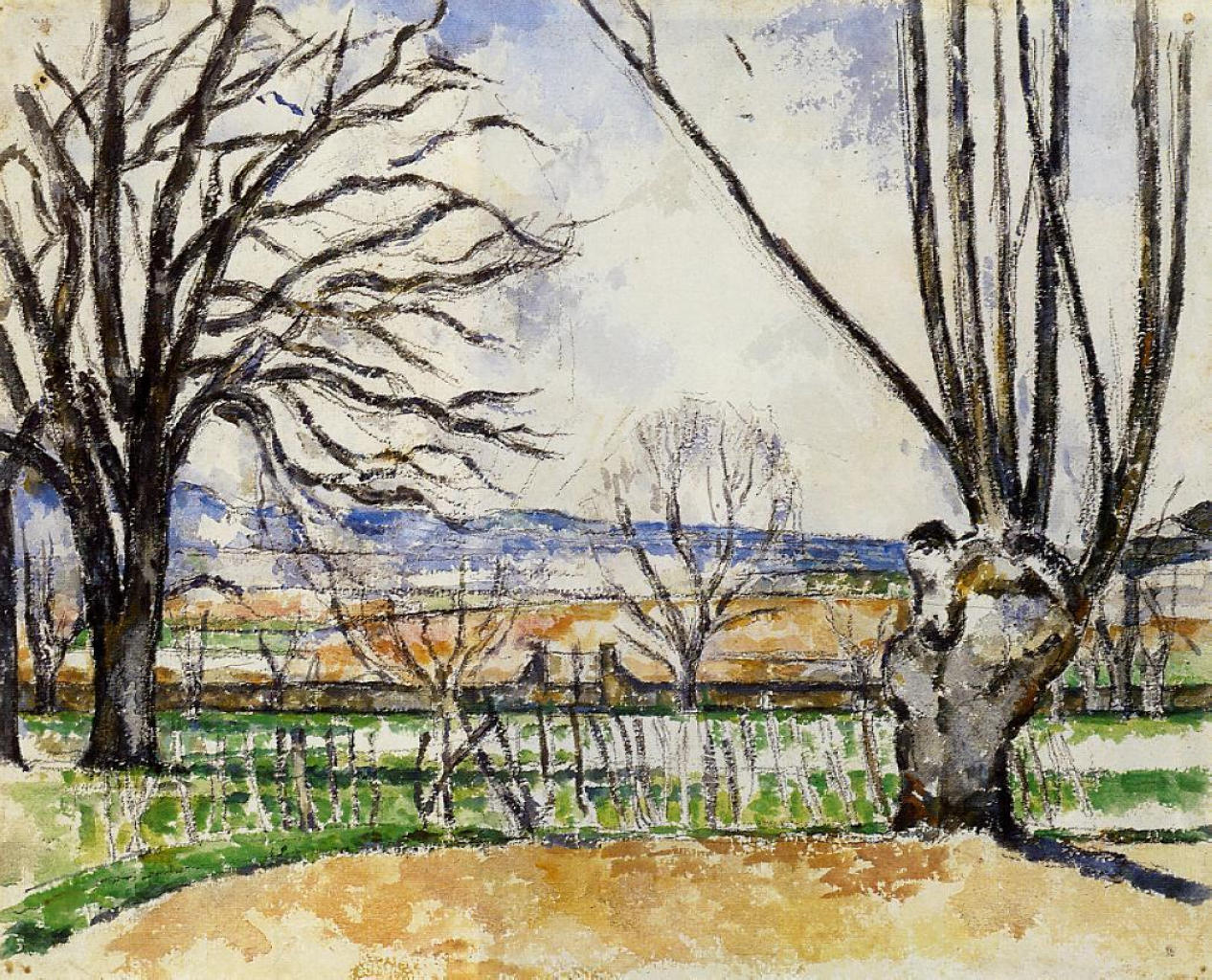 The Trees Of Jas De Bouffan In Spring, Paul Cezanne, 1880