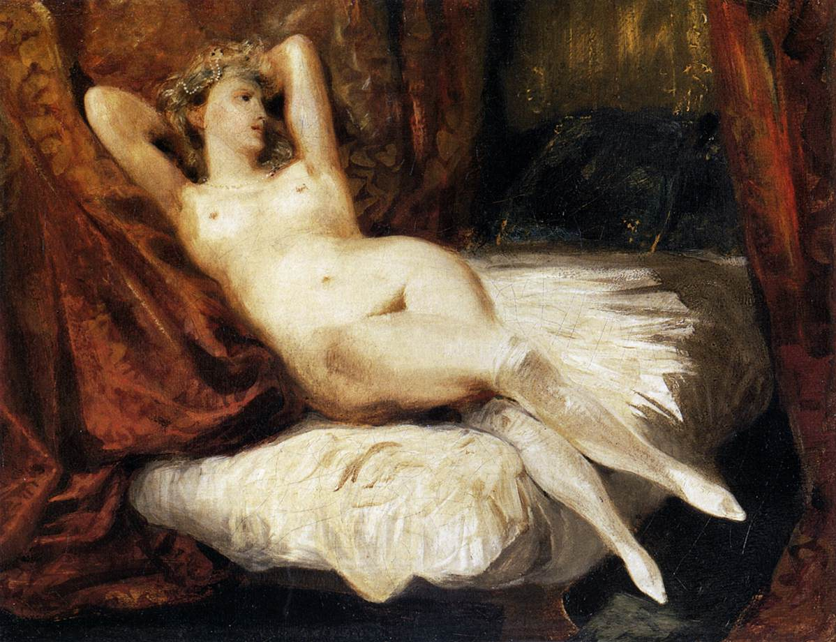 Female Nude Reclining on a Divan, Eugene Delacroix, 1825