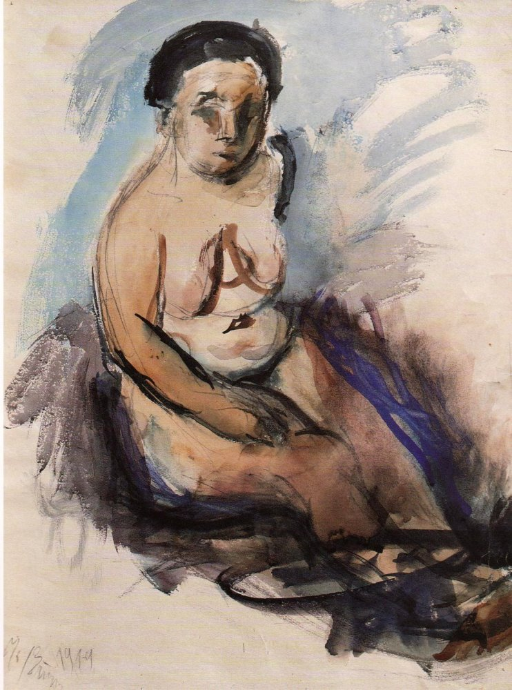 Nude Sitting Woman, Γιώργος Μπουζιάνης, 1919