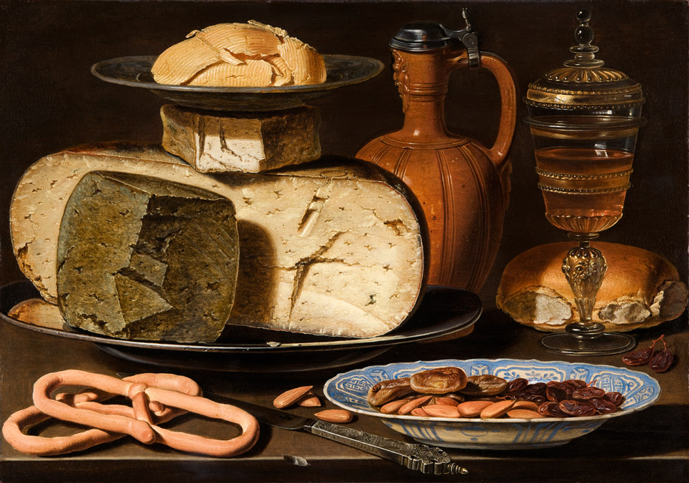 Clara Peeters, Still Life with Cheeses, Almonds and Pretzels, c. 1615
