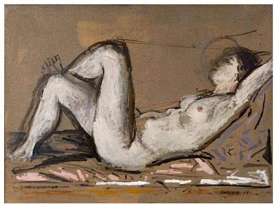 Reclining nude, Γιάννης Μόραλης, 1956