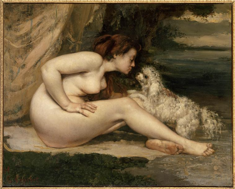 Female Nude With A Dog (Portrait Of Leotine Renaude), Gustave Courbet