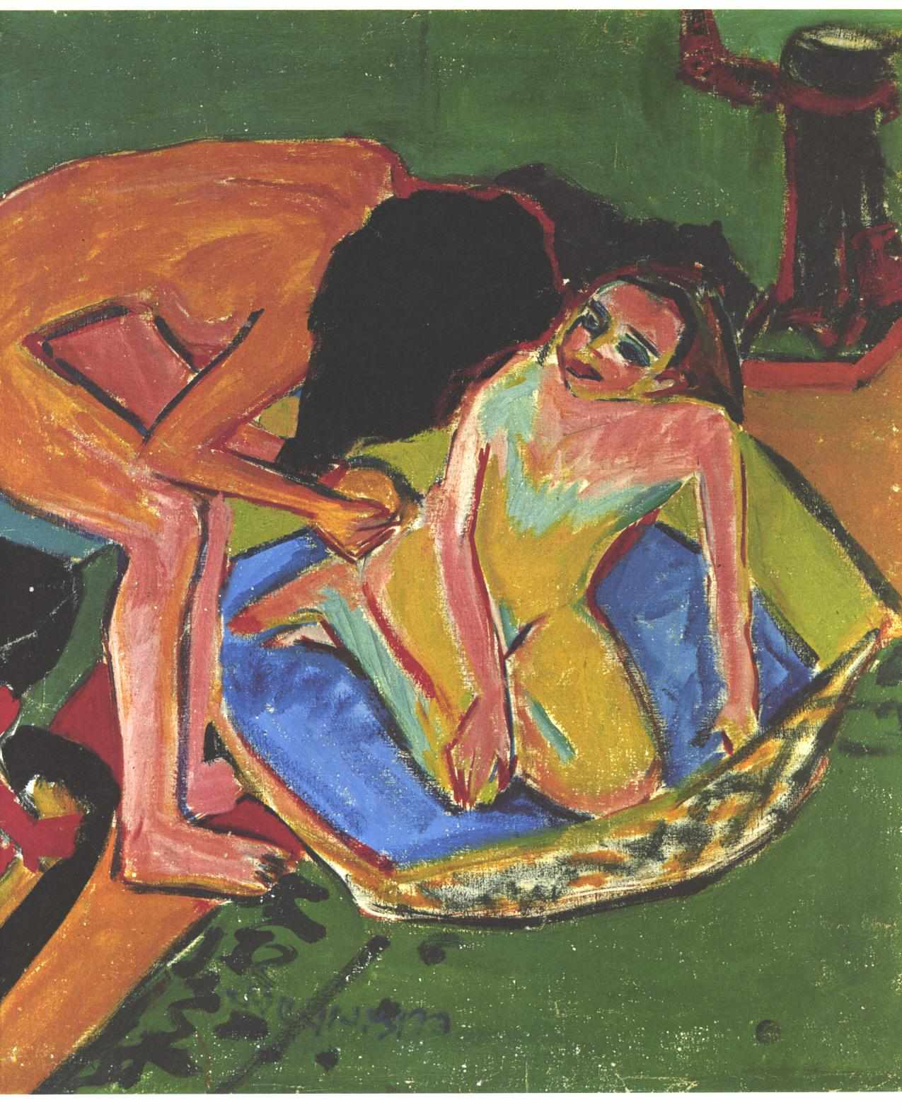 Marcella and Fränzi in the Atelier, Ernst Ludwig Kirchner