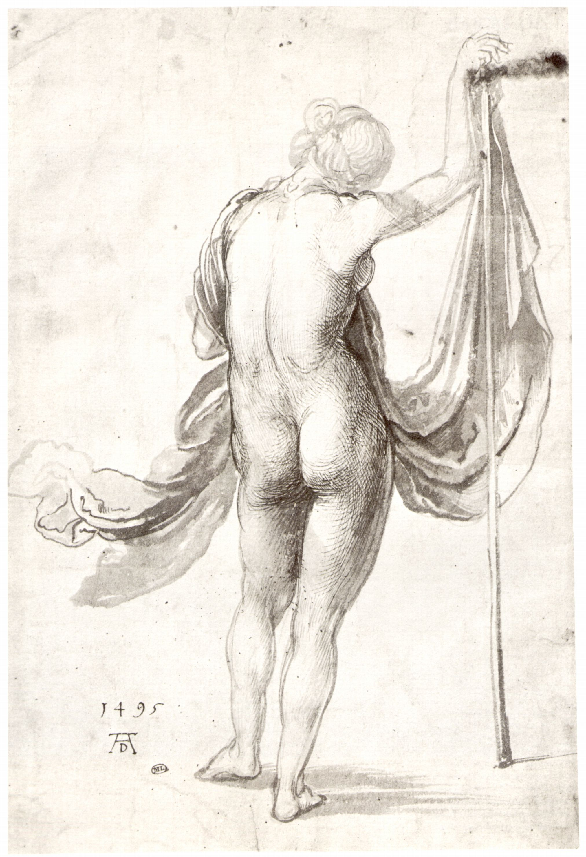 Nude Study (Nude Female From The Back), Albrecht Durer, 1495