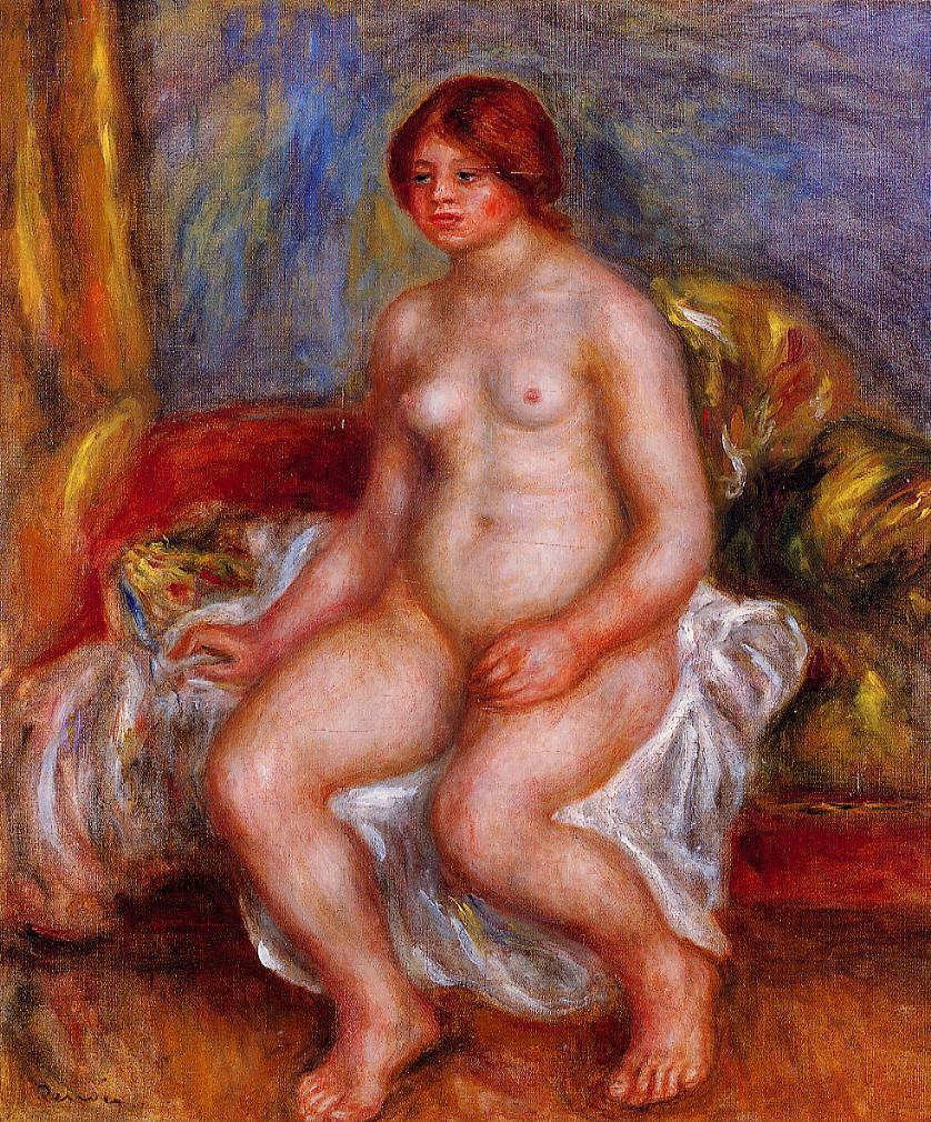 Nude Woman On Green Cushions, Pierre-Auguste Renoir, 1909