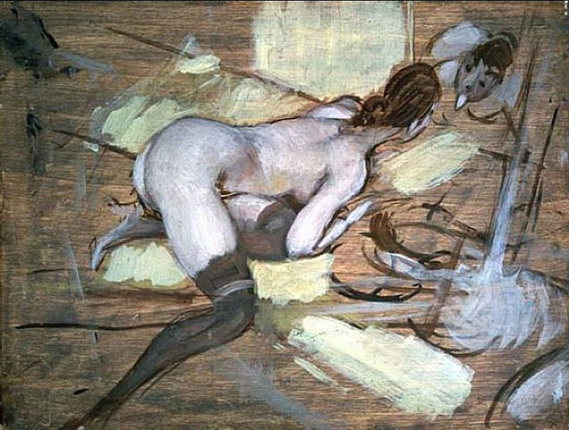 Nude Woman Reclining On Yellow Cushions, Giovanni Boldini