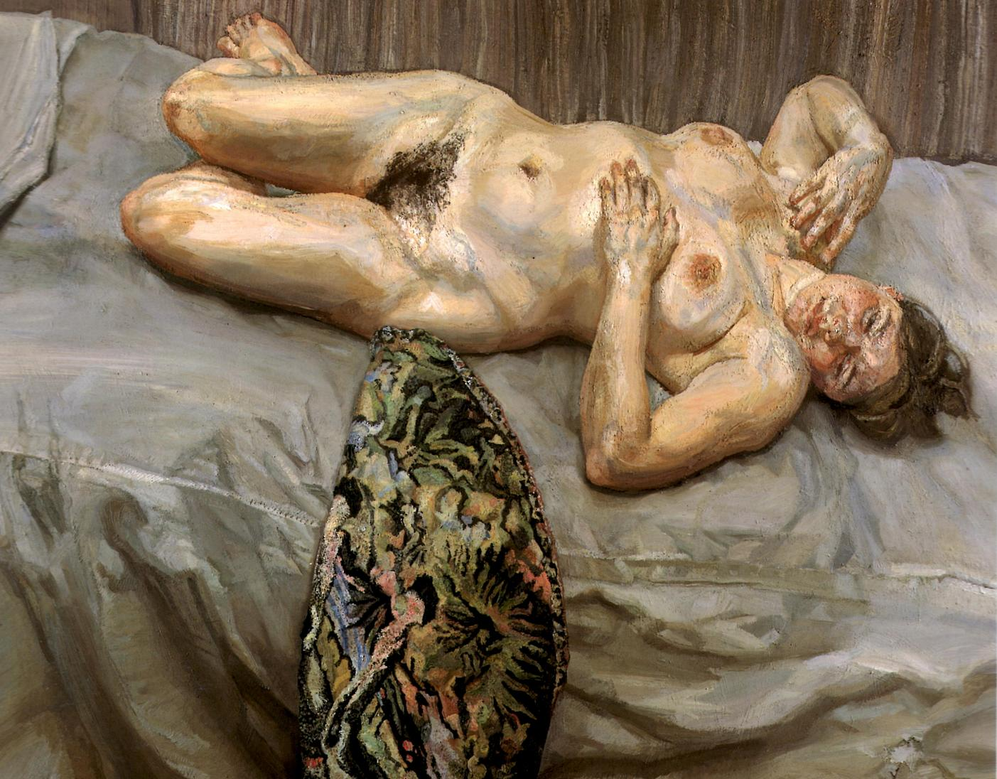 Portrait on a Grey Cover, Lucian Freud, 1996
