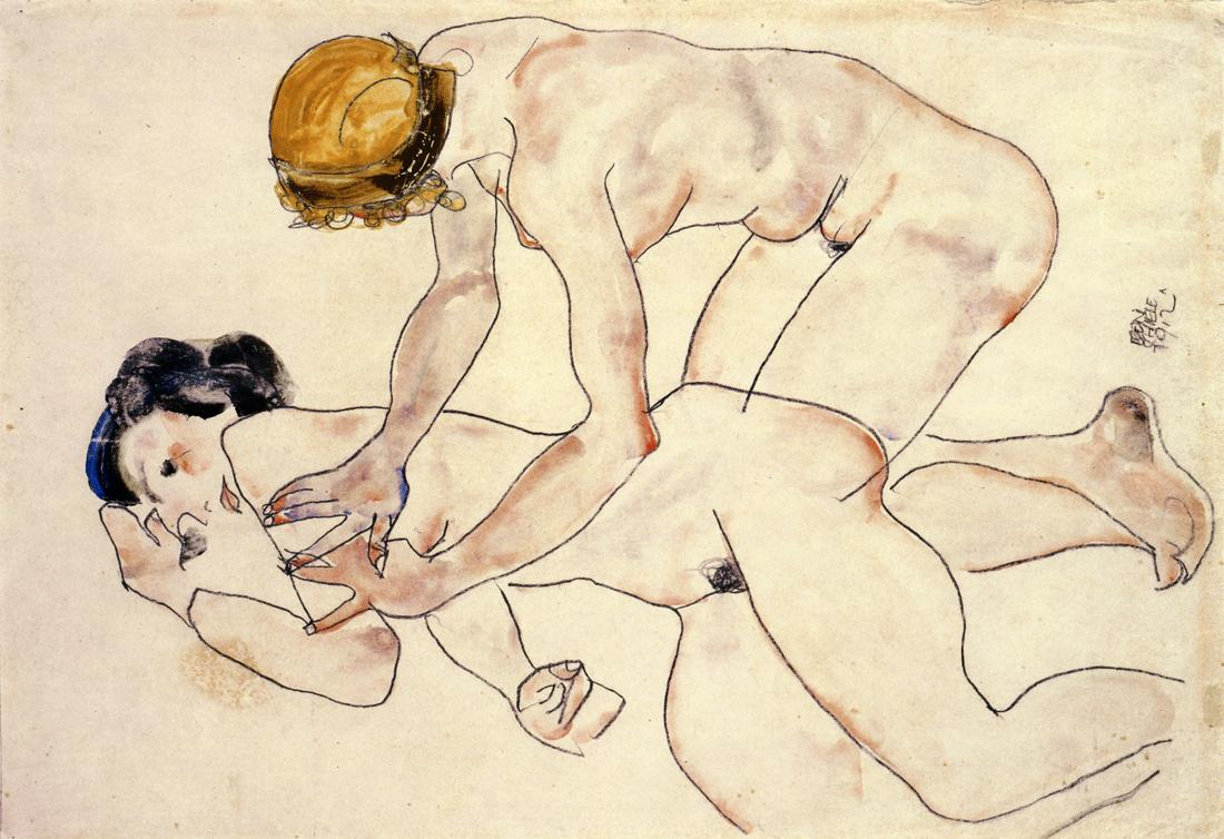 Two Female Nudes, One Reclining, One Kneeling, Egon Schiele, 1912