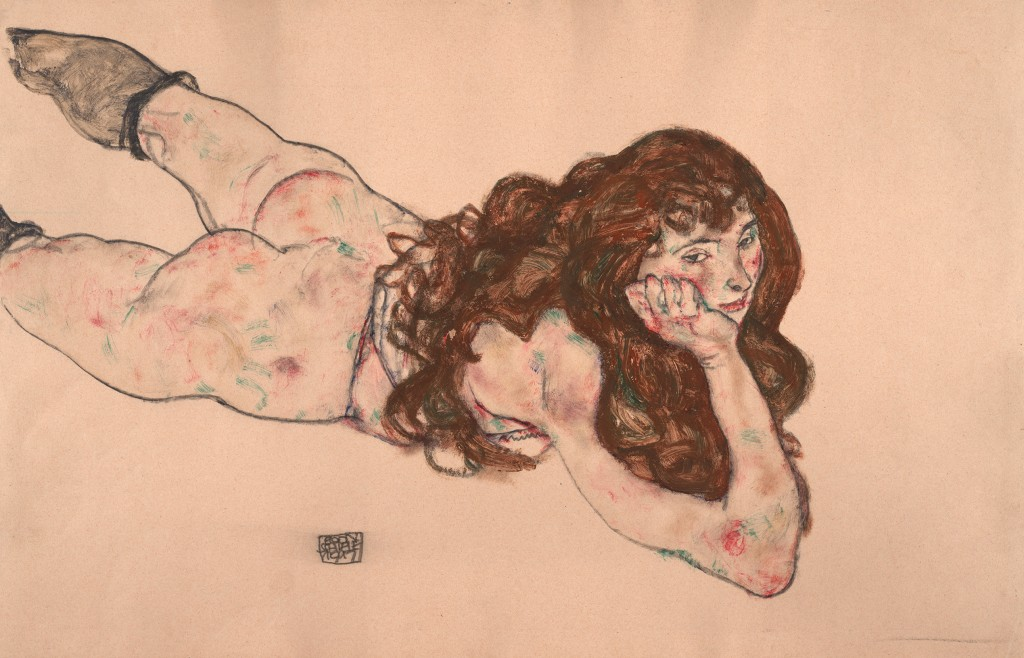 Nude on her stomach, 1917, Albertina, Vienna