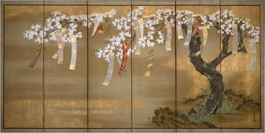 Spring Cherry with Poem Slips, Tosa Mitsuoki. c. 1670