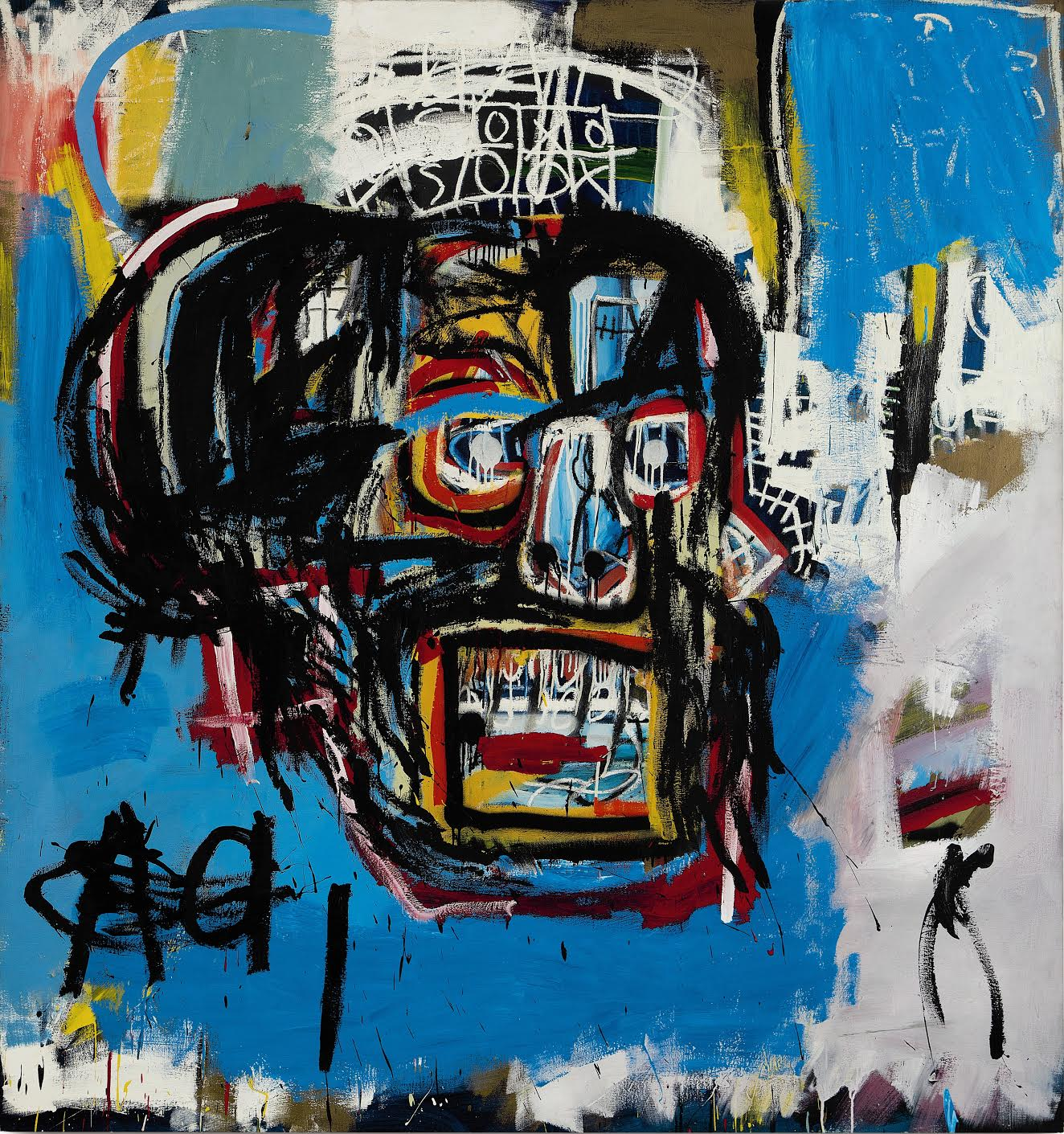 Jean Michel-Basquiat, Untitled, 1982, Oilstick, acrylic and spraypaint on canvas, 72 1/8 by 68 1/8 in.