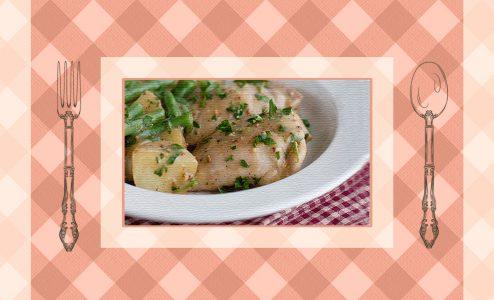 Κοτόπουλο με μουστάρδα, μέλι και φασολάκια