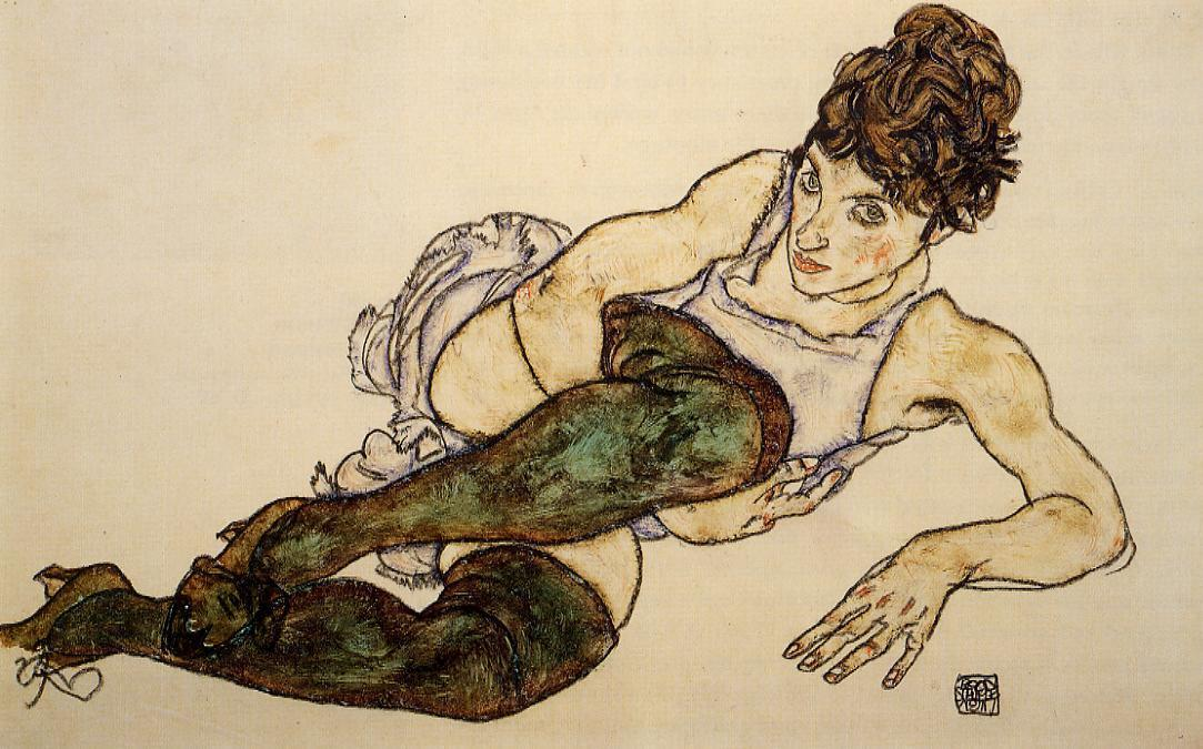 Reclining Woman with Green Stockings (Adele Harms), 1917