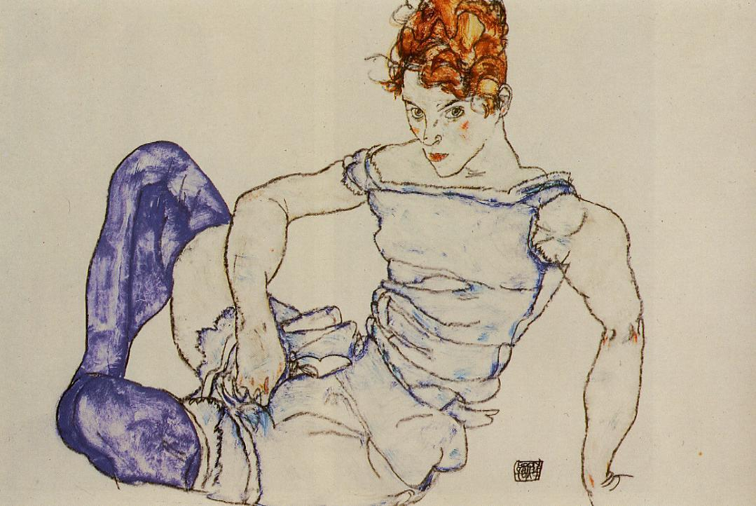 Seated Woman in Violet Stockings, 1917