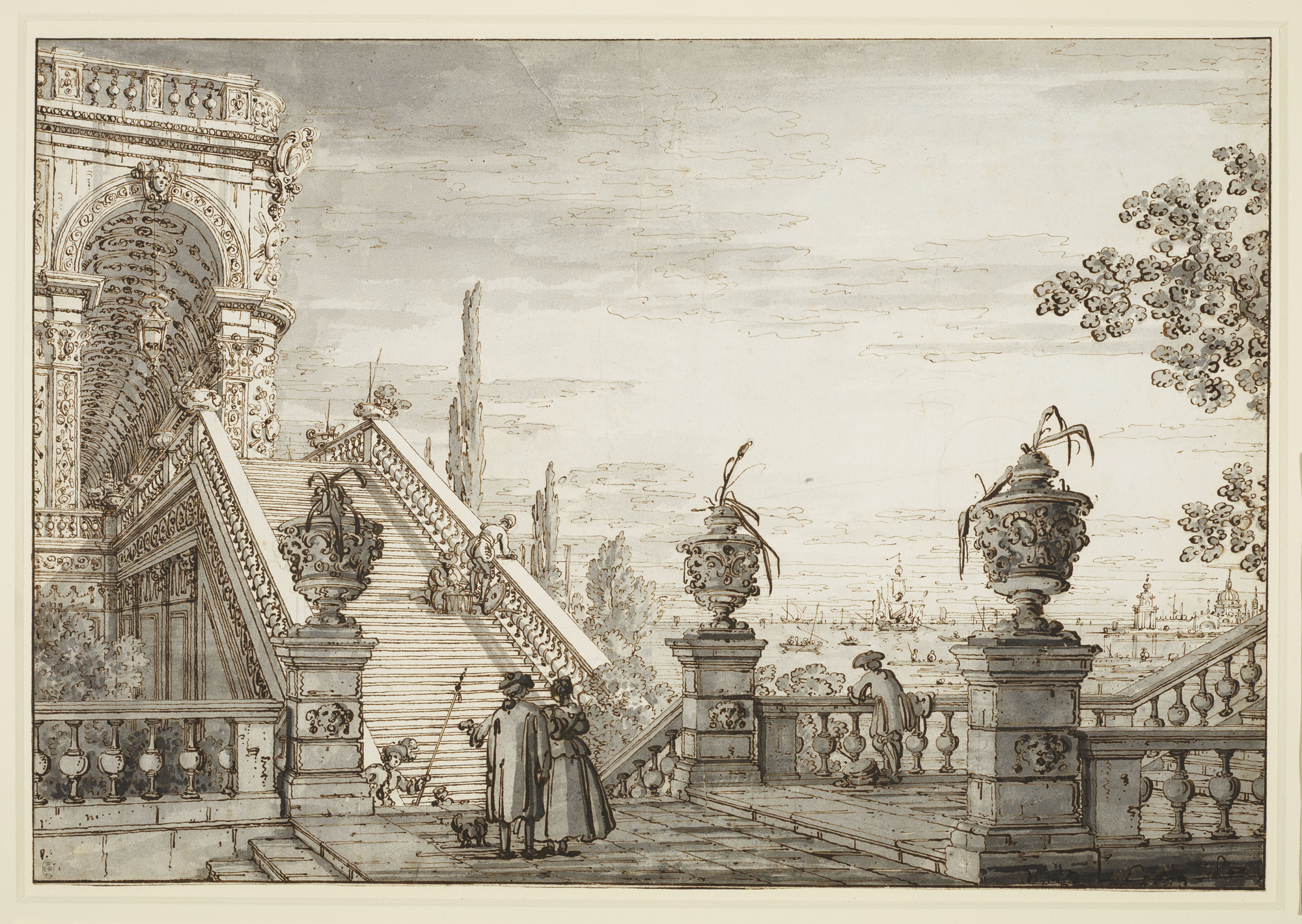 A capriccio with a monumental staircase c.1755-60