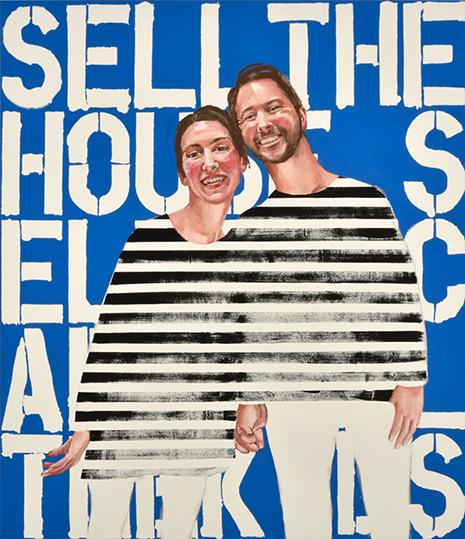 Στέλλα Καπεζάνου, Και ζούσαν αυτοί καλά, 2017, ακρυλικά σε καμβά (170 x 130 εκ).