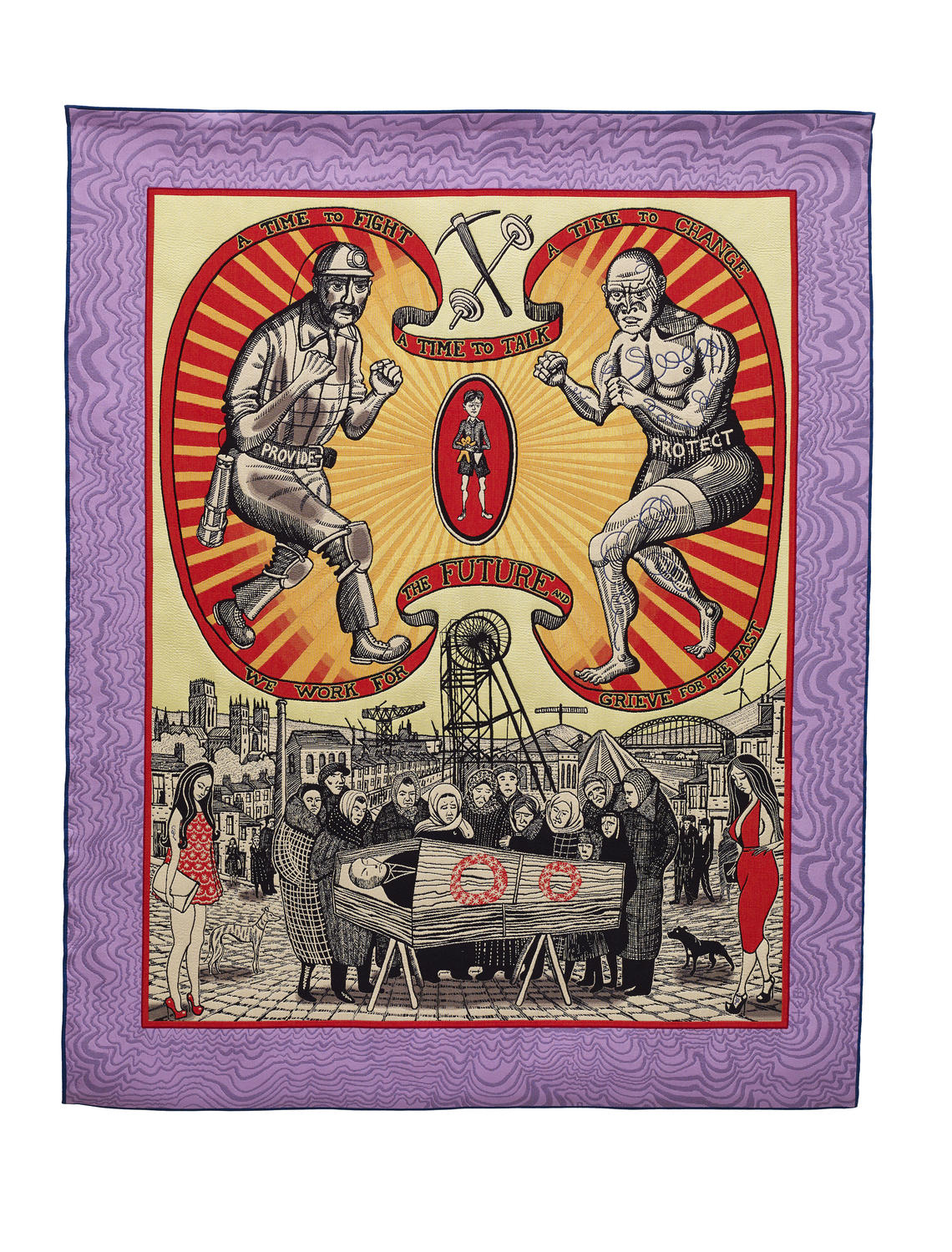 Grayson Perry, Death of a Working Hero, 2016, Tapestry, Courtesy the artist, Paragon Press and Victoria Miro, London, Photography: Stephen White © Grayson Perry