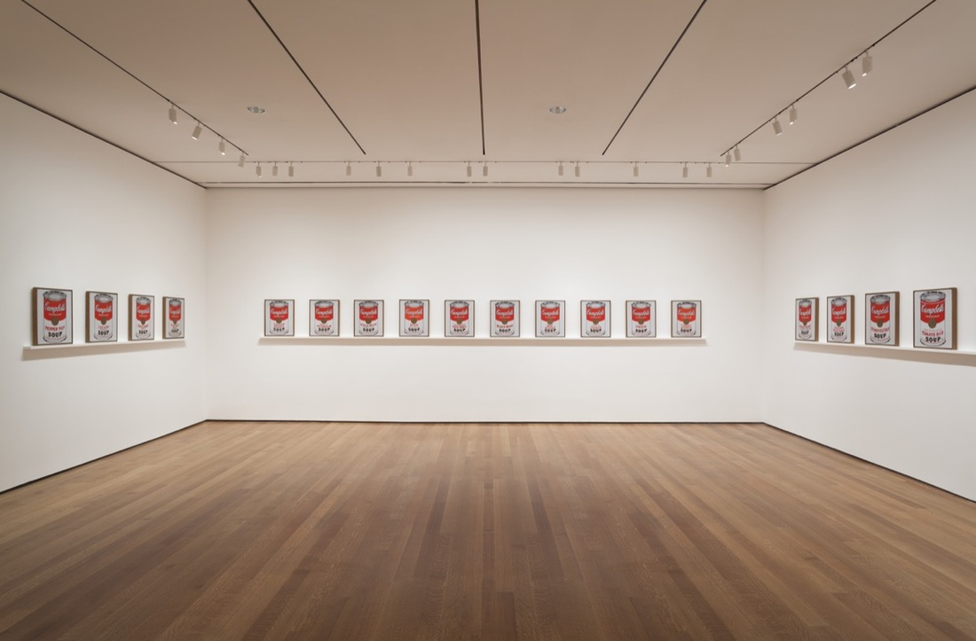 "nstallation view of ""Andy Warhol: Campbell's Soup Cans and Other Works,"" 1953–1967 at The Museum of Modern Art, April 25–October 12, 2015. Photo by Jonathan Muzikar. © The Museum of Modern Art, New York."